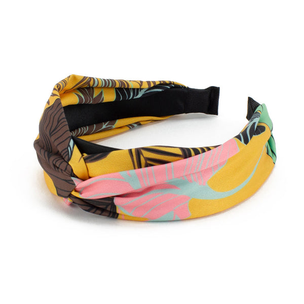 Tropical Print Headband, Mustard