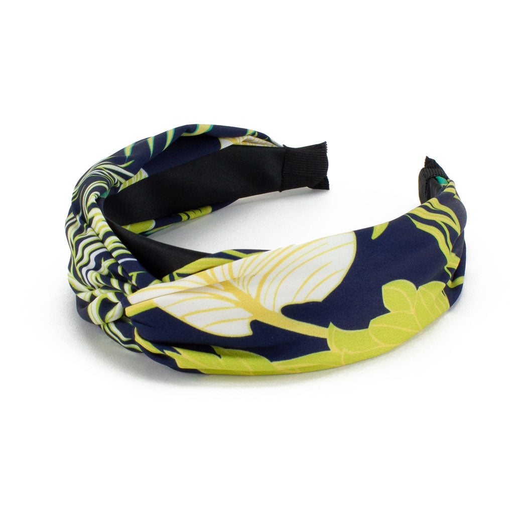 Tropical Print Headband, Navy