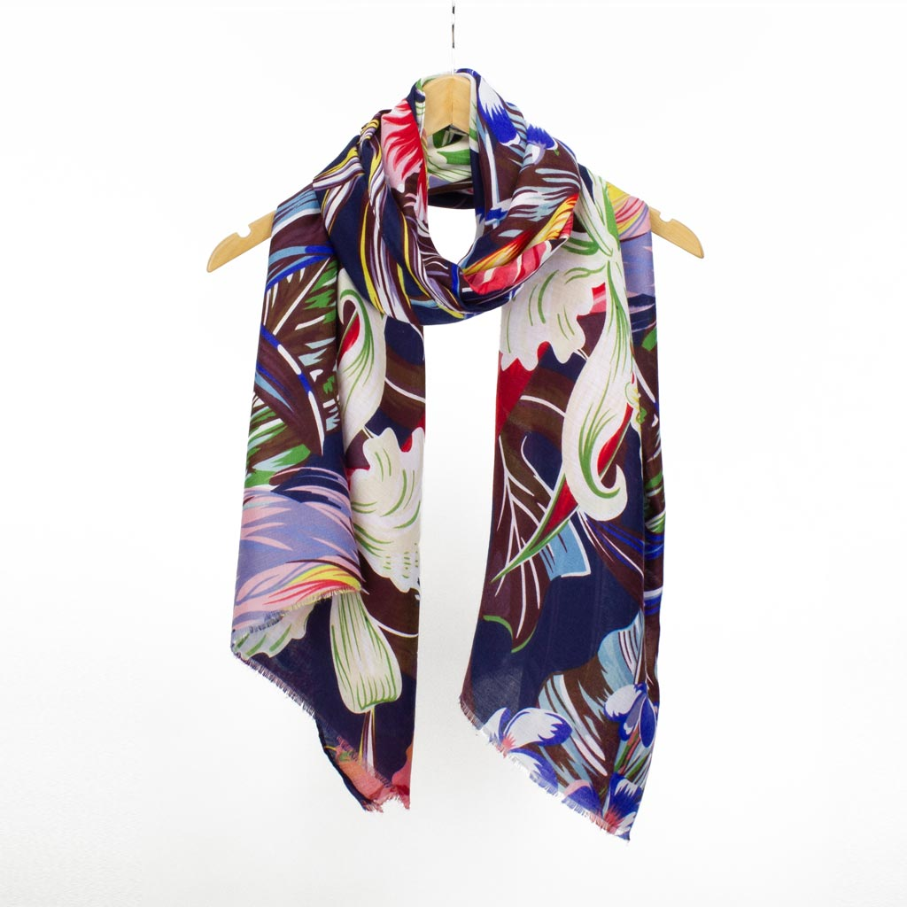 Tropical Print Scarf, Navy Mix
