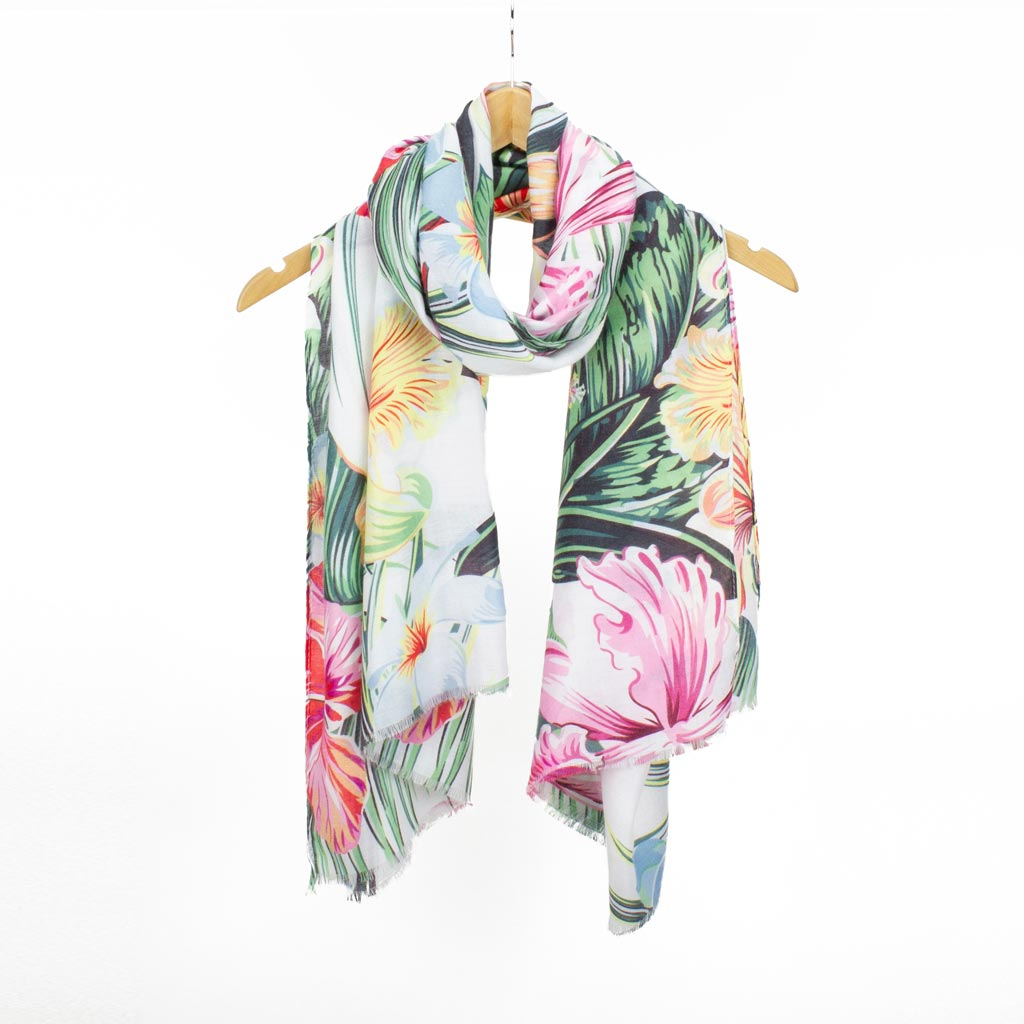 Tropical Print Scarf, White Mix