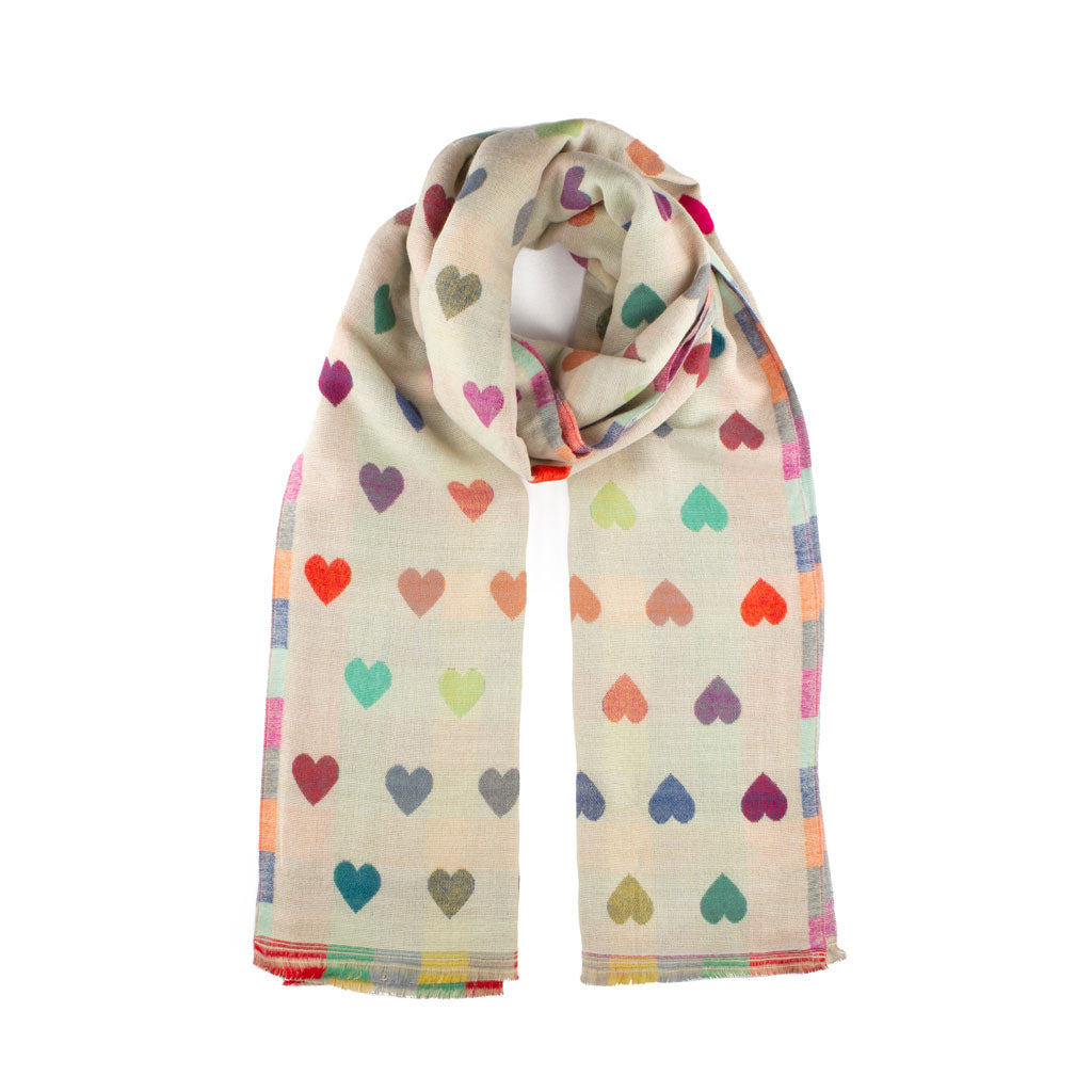 Winter Jacquard Heart Scarf, Cream