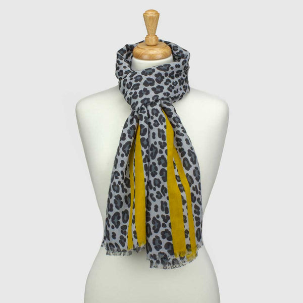Yellow/Grey Leopard Print Stripe Scarf
