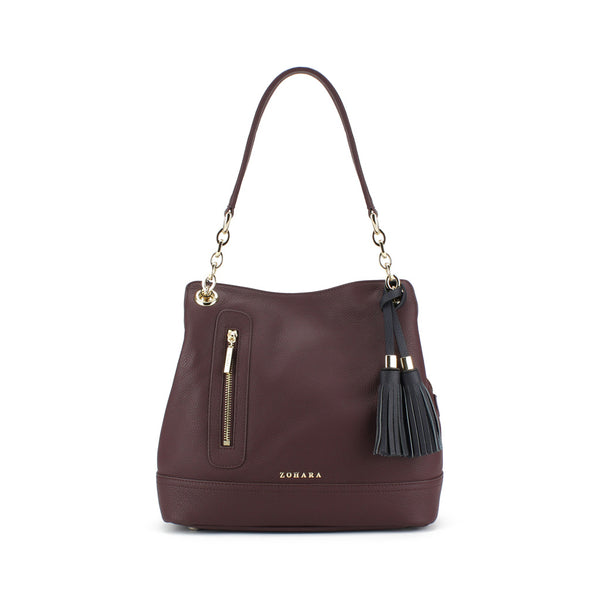 Zohara Camden Shoulder Bag in Oxblood