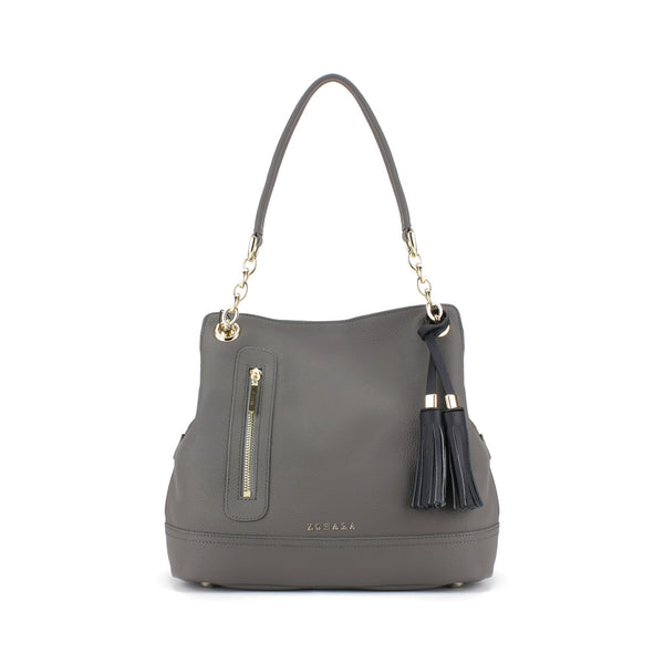 Zohara Camden Shoulder Bag in Pewter Grey