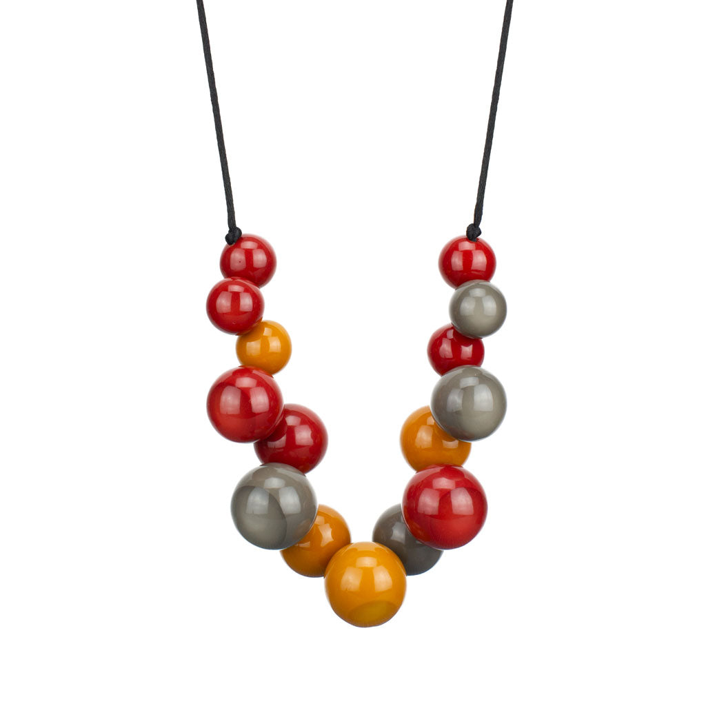ZSISKA Bolas Necklace in Rust/Mustard/Grey