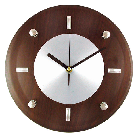"Timekeeper 11"" Espresso Brown Woodgrain Wall Clock with Silver Accents and Raised Glass Cover"