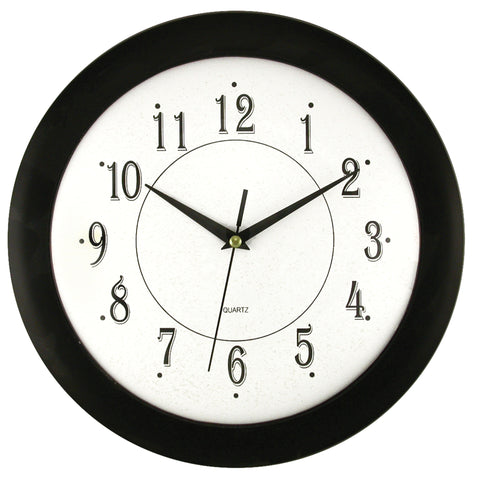 Clock Black Frame w/ Convex Glass Lens