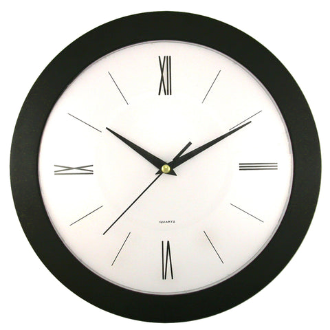 Clock Black Frame w/ White Dial w/ Convex Glass Lens