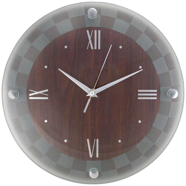 Timekeeper 12 Quot Frosted Glass Round Rimless Clock Walnut