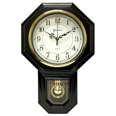 Faux Wood Pendulum Wall Clock