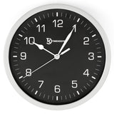 "10"" Diameter Eclipse Round Wall Clock, Grey Frame, Black Dial"