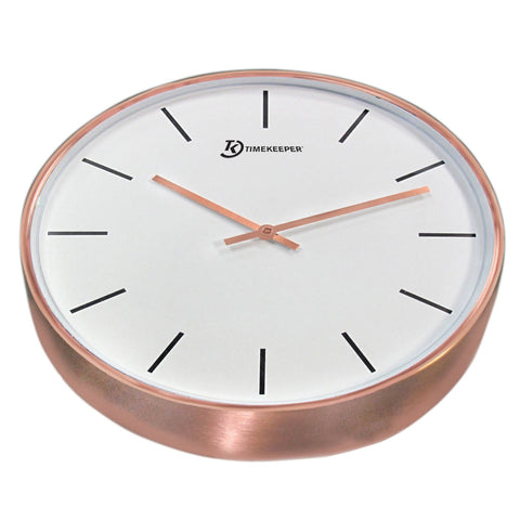 "15"" Brushed Copper Clock w/ Glass Face, Copper"