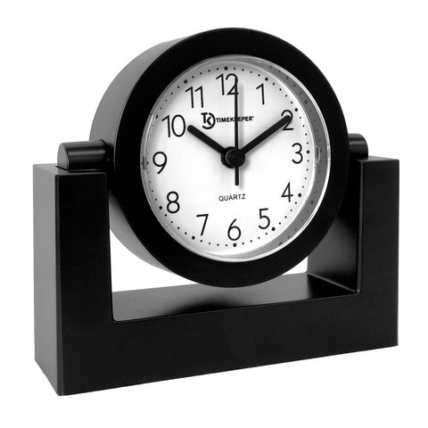 Desktop Swivel Clock Black Frame w/ White Face, Black