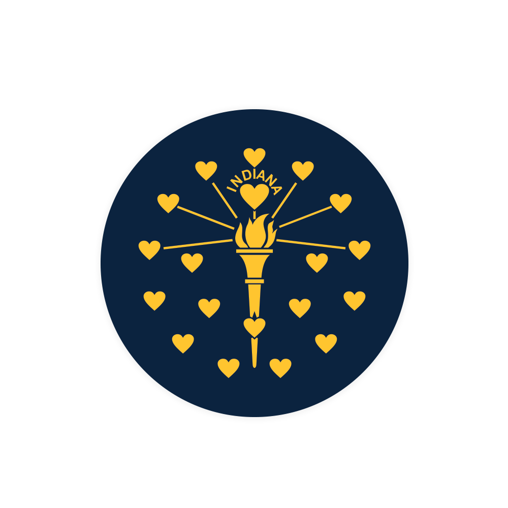Indiana Heart Flag Sticker