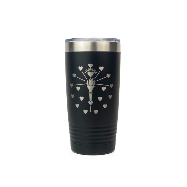 Indiana Flag Hearts Black Tumbler