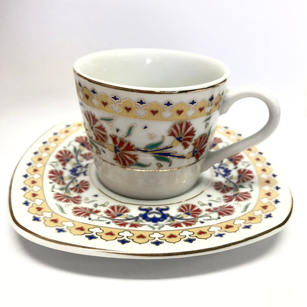 Coffee Cup Set (6 Cups & 6 Saucers) Tulip pattern - Turkish Mart