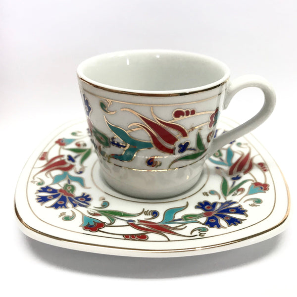 Coffee Cup Set (6 Cups & 6 Saucers) Istanbul Double Carnation - Turkish Mart