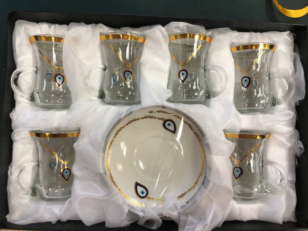 Tea Cups Set Evil Eye #2 (6 Cups & 6 Saucers) - Turkish Mart
