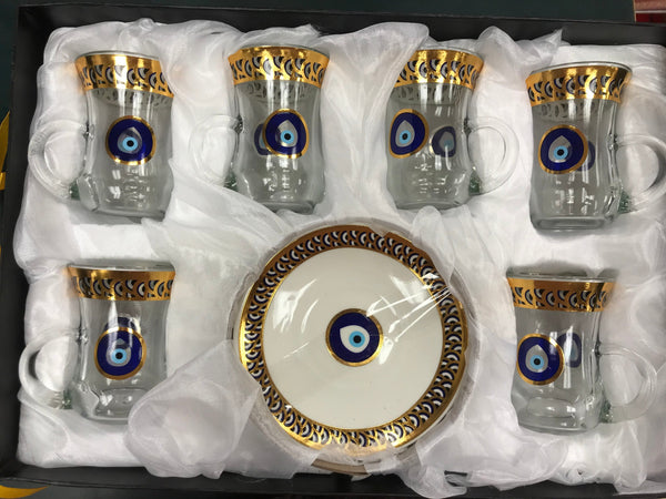 Tea Cups Set Evil Eye #3 (6 Cups & 6 Saucers) - Turkish Mart