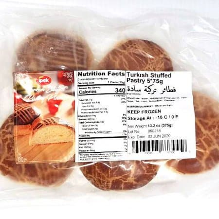 "Ipek Turkish stuffed pastry ""plain""  (5pcs x 75g)  FROZEN  **** deliveries : GTA only **** - Turkish Mart"