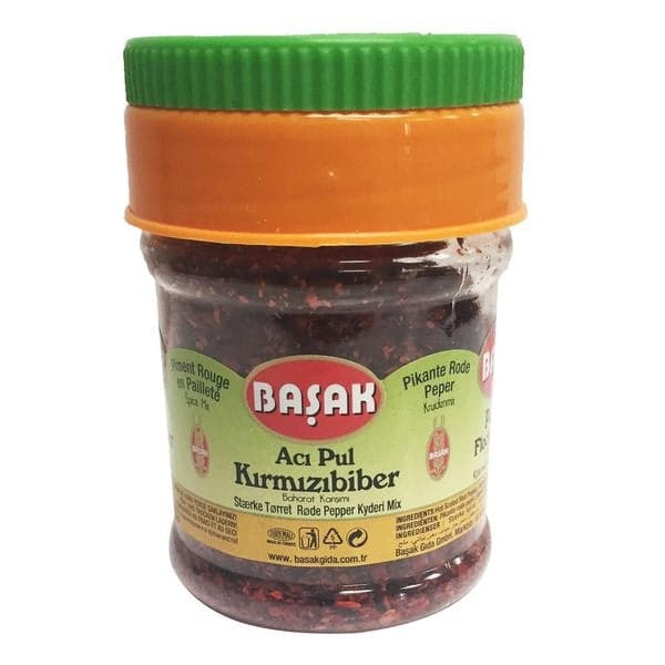 Basak Hot Scaled Red Pepper (Aci kirmizi pul biber) - 65 g - plastic jar - Turkish Mart
