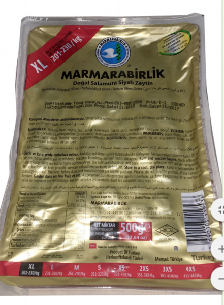 Marmarabirlik Black Olives - (XL) 800gr - VACUUM BAG - Turkish Mart