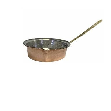 Copper pan with long handle