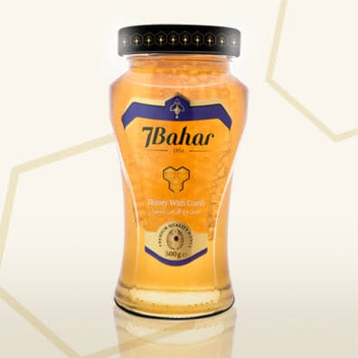 "7Bahar honey with comb ""petekli bal"" - 500g - Glass"