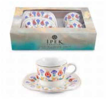 Ipek Coffee Cup Set of 2 (2 Cup & 2 Saucer) Istanbul Carnation