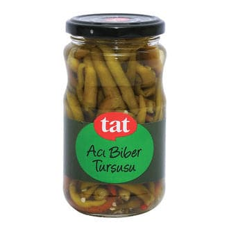 "Tat Chilli Hot Pepper Pickles ""aci biber tursusu"" - 330g - GLASS - Turkish Mart"