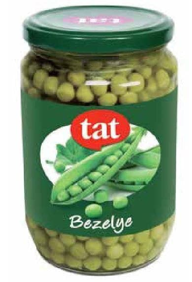 "Tat Canned Peas #3 "" bezelye konserve"" 410g - GLASS - Turkish Mart"