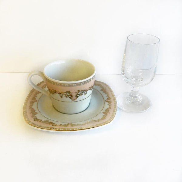 Coffee Cup Set Pink (2  Cups, 2 Saucers and mini Water glass)