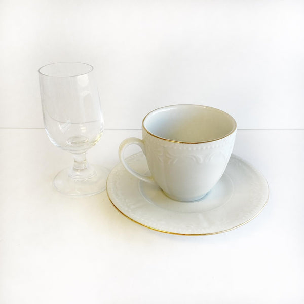 Coffee Cup Set White (2  Cups, 2 Saucers and mini Water glass)