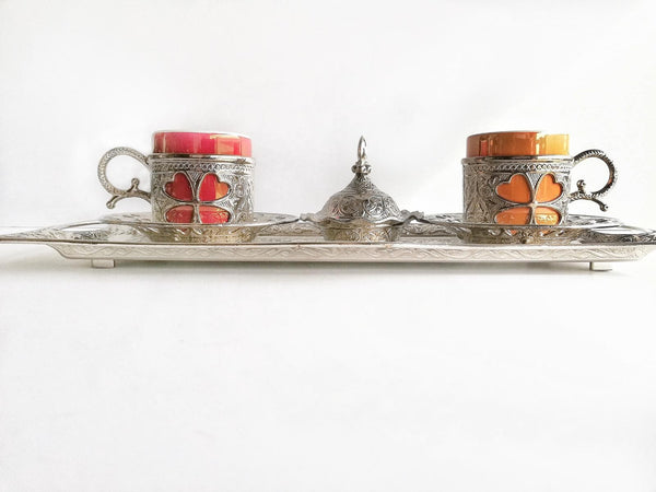 Silver style sleeved Coffee Cup Set (2 Cups & 2 Saucers)
