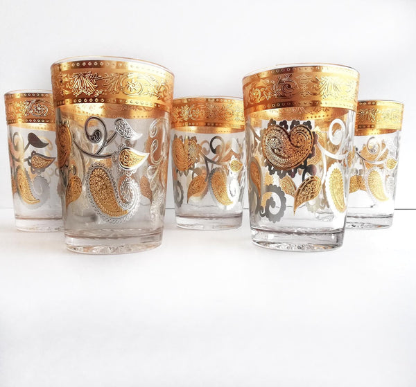 Set of water/juice glasses, gold plated look