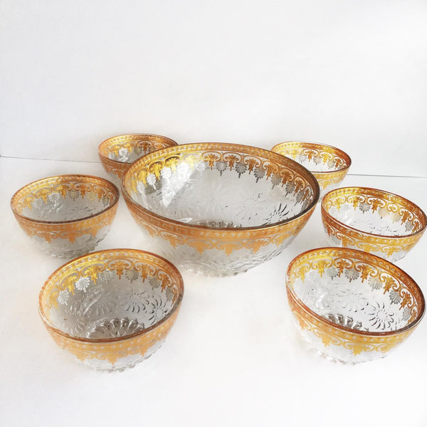 Set of bowls, gold plated look