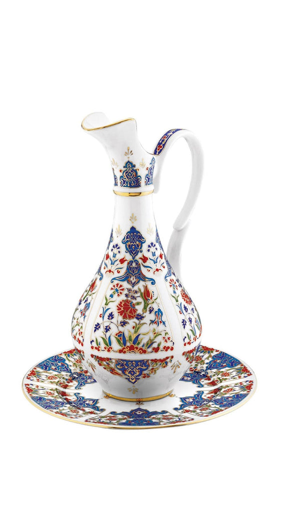 Designer Porcelain pitcher and base, blue(ibrik legen)