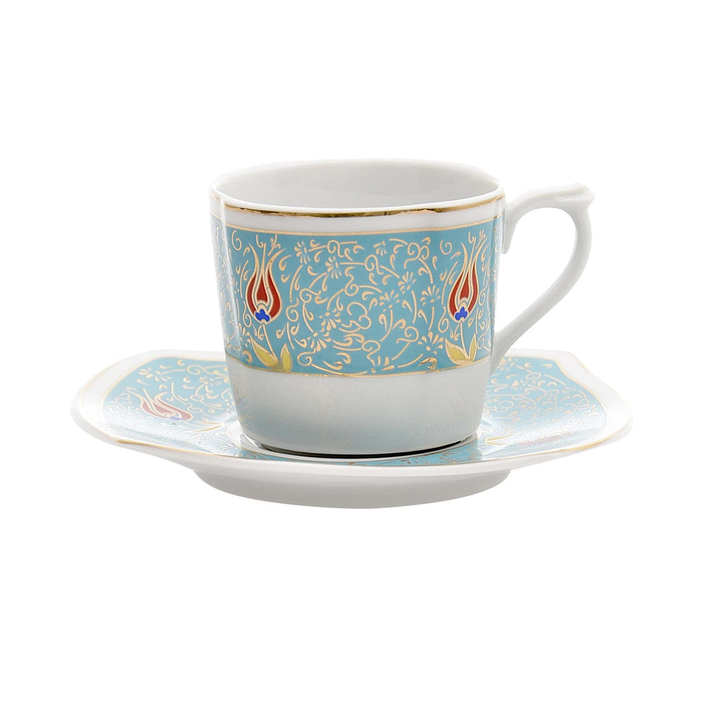 Coffee Cup Set (6 Cups & 6 Saucers) - Turkish Mart