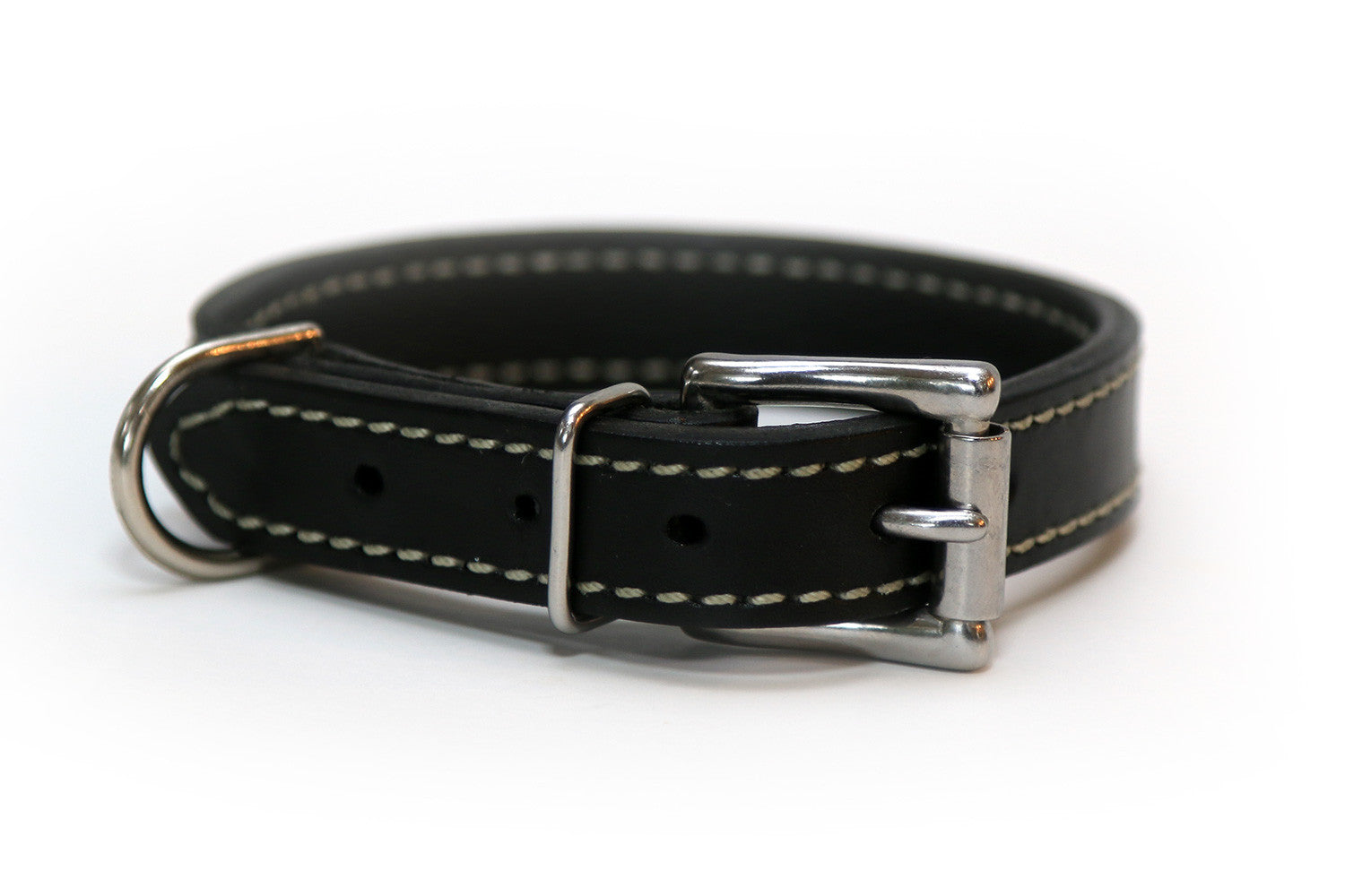 Latigo Leather 3/4 Inch Stiched Dog Collar in Black, Brown, or Burgundy