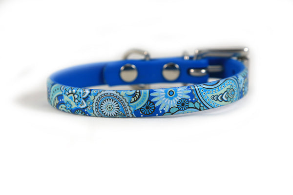 Blue Paisley Waterproof Sport Dog Collar - 1/2 inch