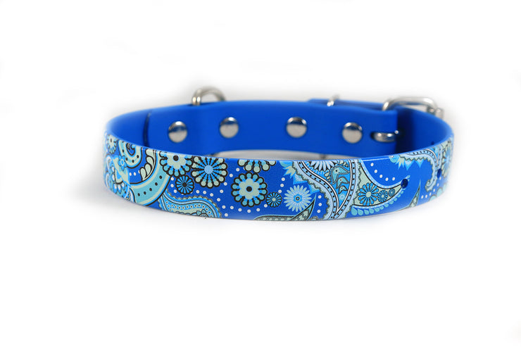 Blue Paisley Waterproof Sport Dog Collar - 1 inch