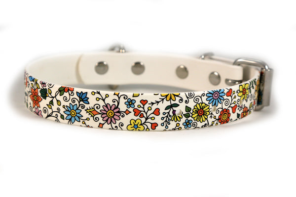 Floral Pattern Waterproof Sport Dog Collar - 1 inch