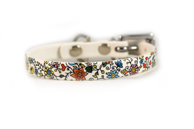 Floral Pattern Waterproof Sport Dog Collar - 1/2 inch