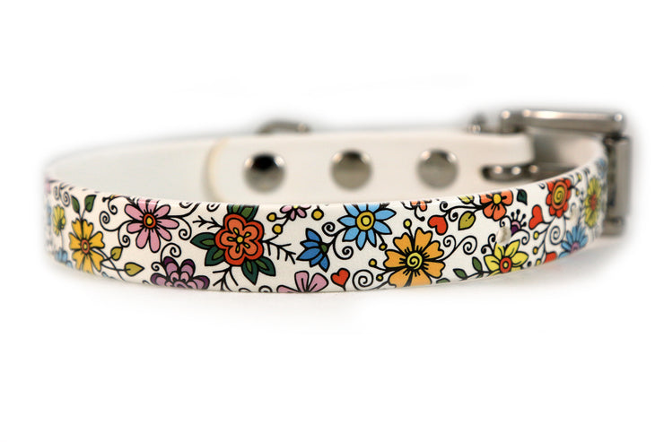 Floral Pattern Waterproof Sport Dog Collar - 3/4 inch
