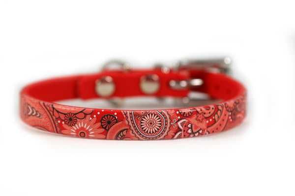Red Paisley Waterproof Sport Dog Collar - 1/2 inch