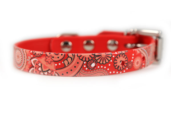 Red Paisley Waterproof Sport Dog Collar - 3/4 inch