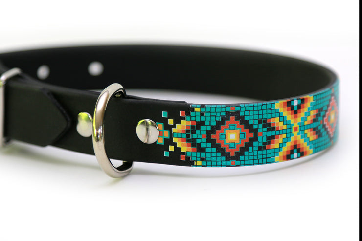 Waterproof Dog Collar - Aztec Pattern Closeup 2