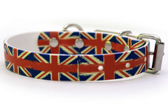Waterproof Dog Collar - British Flags on 1 inch Biothane - Alternate View