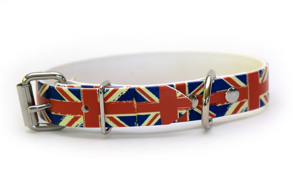 Waterproof Dog Collar - British Flags on 1 inch Biothane - Dee Ring View