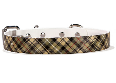 Burberry Inspired Waterproof Dog Collar on White Front